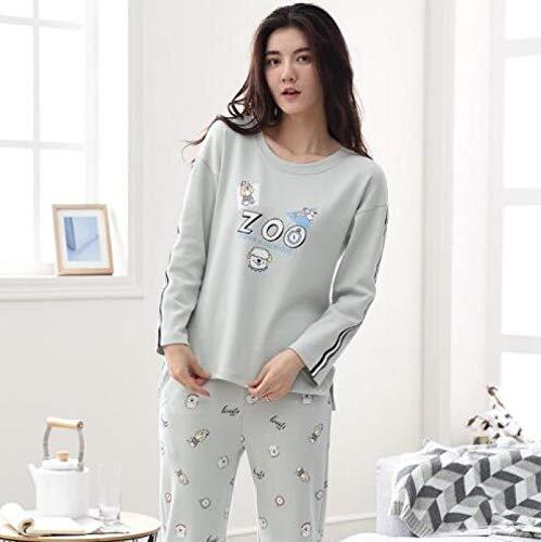 XFLOWR Herbst und Winter 100% Baumwolle Frauen Pyjamas Set Langarm Niedlich Cartoon...