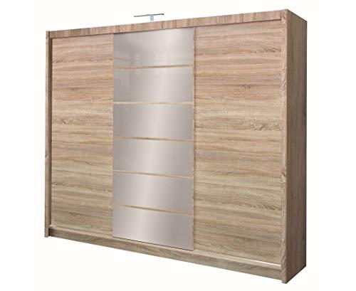 Furniture24_eu Kleiderschrank Schwebetürenschrank Schlafzimmerschrank Malibu (Sonoma Eiche/Spiegel)