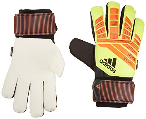 adidas F1806GL014 Predator Fingersaver Replique Soccer Gloves, Solar Yellow/Solar Red/Black, Size 7