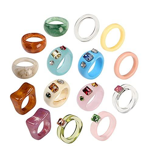 Juego de anillos de acrílico para mujeres, anillo de resina geométrica de cristal vintage, anillos de moda transparentes gruesos de resina colorida con diamantes de imitación, tamaño 6-7