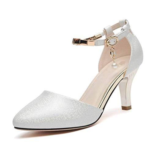 Frauen Seite Hohl High Heels Sommer Knöchelriemen Courts Schuhe Schnalle Pumps Pointed Toe Cone Heel Sandalen