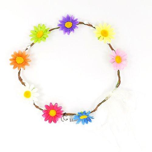 Coloured Fabric Daisy Wire Hoop Headband/ Hairband / Garland with Ribbon Ties - Flower Girls/ Festivals