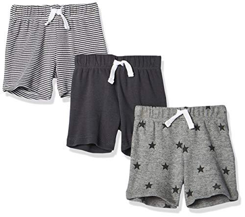 Amazon Essentials - Pack de 3 pantalones cortos con cintura elástica para niño, Uni Star Stripe Neutral, Bebé prematuro, 40 cm