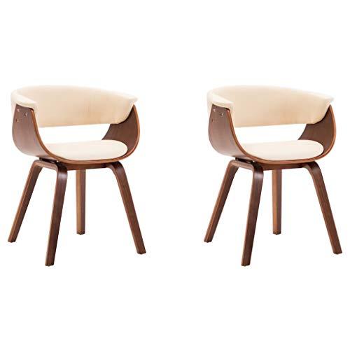 vidaXL 2X Esszimmerstuhl Armlehne Stuhl Küchenstuhl Essstühle Creme Bugholz und Kunstleder