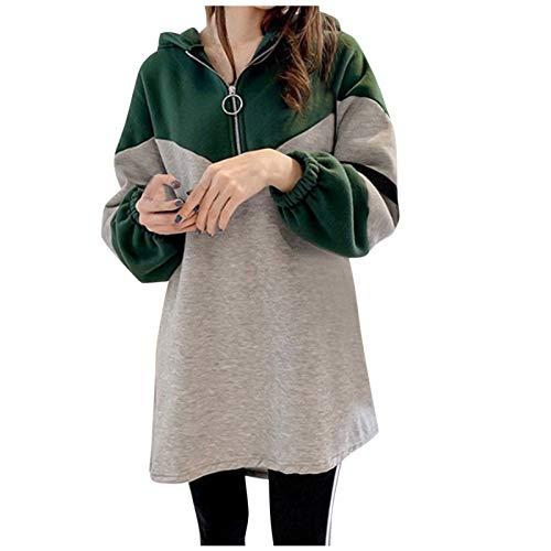 Frauen Mantel Lässig Farbe Kontrast Hoodie Sweatshirt Half Zip Loose Long Tops Bluse(XXXL,Grün)