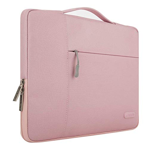 MOSISO Laptop Briefcase Compatible with MacBook Pro 15 inch Touch Bar A1990 A1707, 14 HP Acer Chromebook, 2019 Surface Laptop 3 15, Polyester Multifunctional Sleeve Carrying Bag, Pink