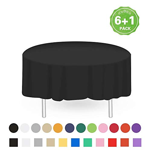 Anborfly Black Plastic Tablecloth 7 Pack Premium Disposable Round Table Cover 84 Inch Less Transparent Waterproof Table Cloths for Parties Birthdays Picnic Party Decorations Supplies