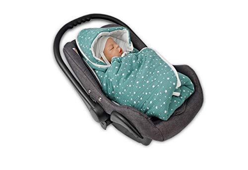 MoMika Stars Musselin Unisex Einschlagdecke | Wickeldecke | Babyschlafsack | 100% Baumwolldecke mit 100% kuscheligem Vliesstoff | Babydecke für Buggy oder Autositz | Wickeldecke mit Kapuze (Green)