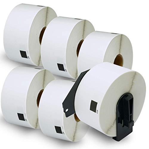 6ロール ブラザー ラベル 38mm x 90mm (2400枚)Brother DK-1208 宛名ラベル 感熱ラベルプリンター用 + 1個 セット 専用互換カセットフレーム(ロール交換可能タイプ)