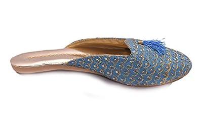 APRATIM Synthetic Women/Girls Traditional Flats/Casual Wear Ladies Slipper/Jutti Ethnic Footwear Turquoise Color