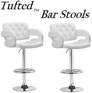 South Mission Tufted Adjustable Swivel Bar Stool with Armrests, White Leatherette, Set of 2