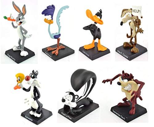 OPO 10 - Lot von 7 Metallfiguren - 8 cm - Sylvester und Tweety Bird + Bugs Bunny + Daffy Duck + Roadrunner + Coyote + Pépé Le Pew + Taz / Titi und Grosminet Looney Tunes (1à7)