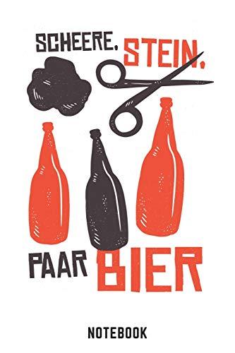 Schere Stein Paar Bier Notebook: A5 Blank Bierbrau Buch, Notizbuch für Biebrauer, Hobbybrauer, Bier Brauen 120 Seiten 6x9   Organizer Schreibheft Planer zum Ausfüllen