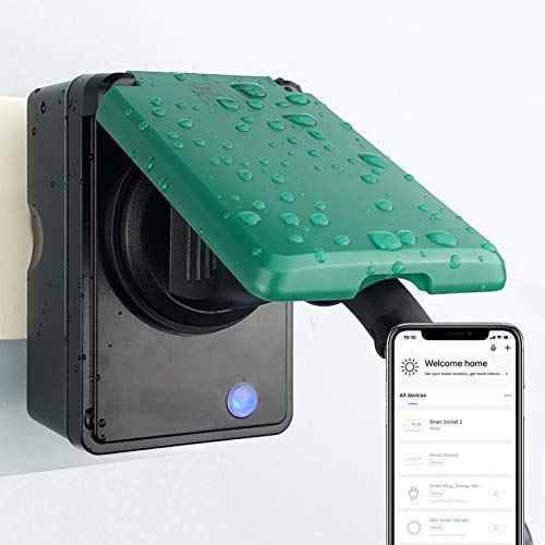 UCOMEN WLAN Smart Steckdose Outdoor Steckdose 2er Pack, Smart Home Steckdose misst den Stromverbrauch, mit Fernsteuerung und Sprachsteuerung, Funktionieren mit Alexa, Google Home