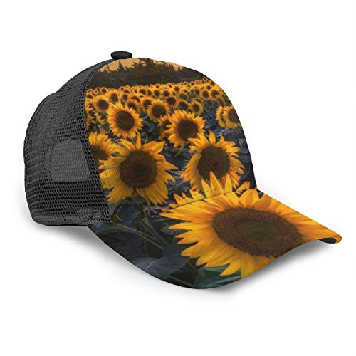 Baseball Cap Fit for Boys Girls Men Women Hip Hop Trucker Baseball Cap for Travel, Golf, Running, Fishing Adjustable Sunhats Beautiful Sunrise Sunflower Natural Art (43) Snapback-Cap