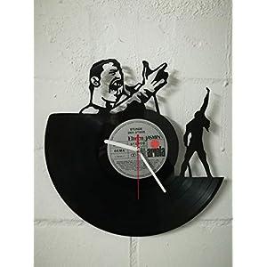 Wanduhr aus Vinyl Schallplattenuhr mit Freddie Mercury Motiv upcycling design Uhr Wand-deko vintage-Uhr Wand-Dekoration retro-Uhr