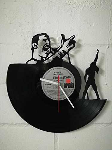 Reloj de pared de vinilo con motivo de Freddie Mercury reloj de diseño upcycling reloj de pared decoración vintage reloj de pared decoración retro reloj de pared