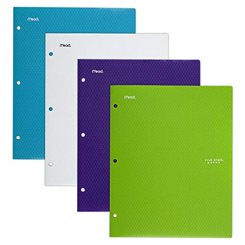 Five Star 2 Pocket Folders, Stay-Put Tabs, Binder Folders with Pockets, Fits 3 Ring Binder, Plastic, Teal, White, Purple, Lime, 4 Pack (38065)