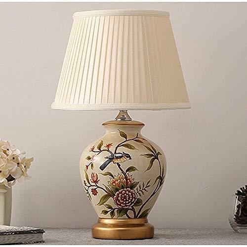 Large lámpara de cerámica y latón Antiguo Classic/Sombra Classic (H: 52 cm),White