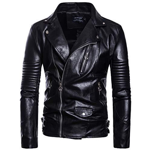 Herren Multi-Reißverschluss Design Mode Leder Biker Jacke Mantel(M,Schwarz)