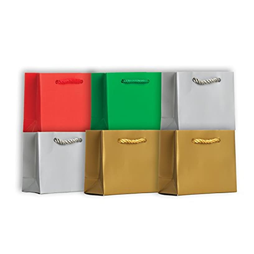 Jillson Roberts 6-Count Solid Color Christmas Gift Bags Available in 5 Different Assortments, Tiny Tote Red/Green/Silver/Gold