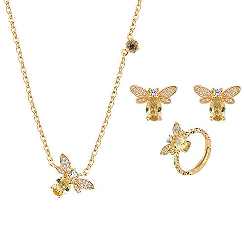 Vasko - Conjunto de pendientes de abeja, collar con gema, citrino, oreja, pendientes pequeños, anillo y collar