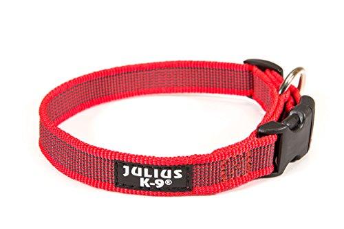 Julius-K9 Collar Color & Gray, 20 mm 27/42 cm, Rojo/Gris