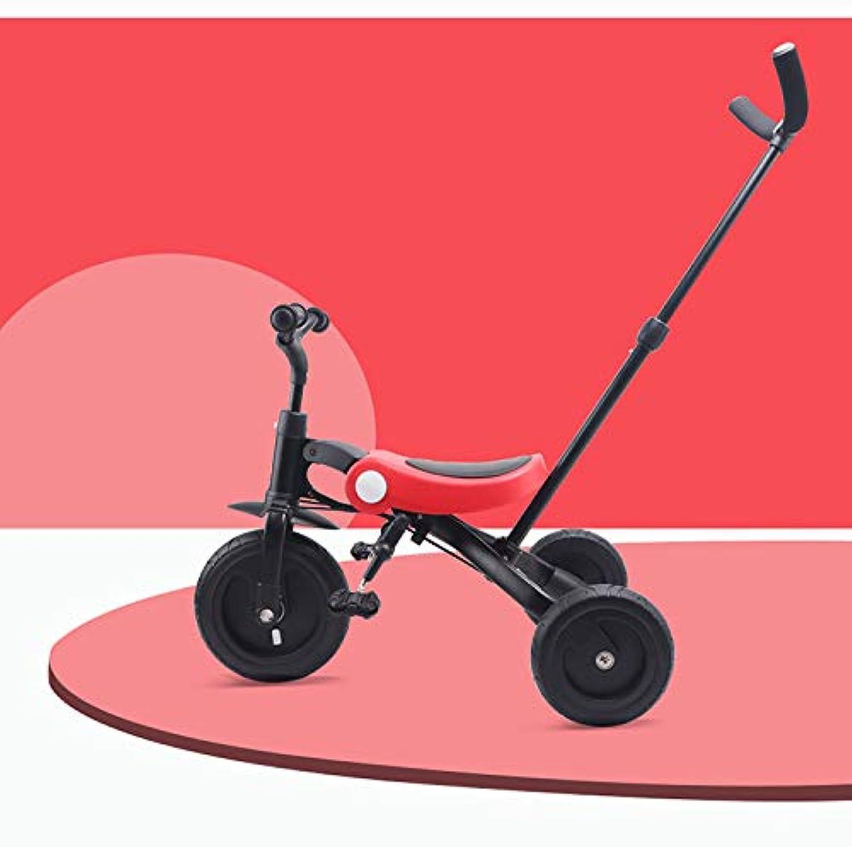 MALTA★折りたたみ式三輪車 レッド 手押し車+三輪車+バランスバイク=3in1仕様 コンパクト収納 RED