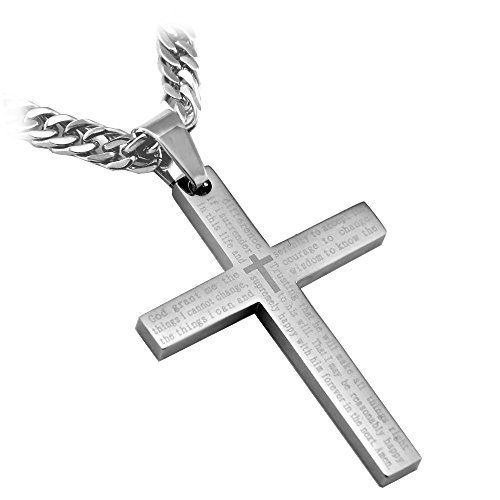 Stainless Steel Silver Serenity Cross Pendant Necklace with English Scripture Including 26' Curb Chain from RAPID SPIRIT- Faith - It does not make things easy, it makes them possible!
