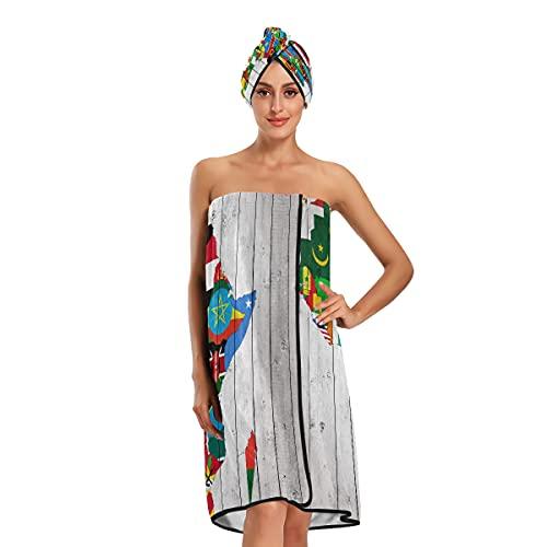 Juego de baño África continente bandera mapa en madera toallas de baño ajustables juego de 3 piezas para baño spa