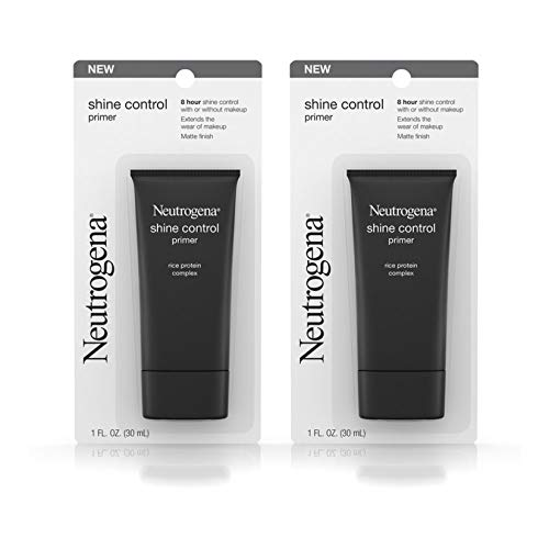 Neutrogena Shine Control Mattifying Liquid Face Primer for Oily Skin, Lightweight, Non-Comedogenic and Non-Greasy Pore and Makeup Primer with Oil-Absorbing Rice Protein, 1 fl. oz (Pack of 2)