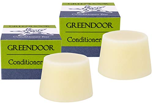 2er Pack GREENDOOR Haar Conditioner Bar, natürliche Haarspülung fest ohne Silikone / Plastik, Naturkosmetik anti Spliss frizz, frischer Duft, Natur Pflege für Haare,...