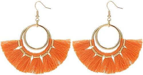 BaubleStar Fan Tassel Earrings Orange Bohemian Gold Hoop Dangle Fringe Drop Thread Tiered Layered product image