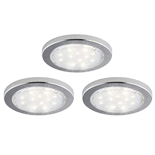 Bazz U16003WD Integrated LED Under-Cabinet Puck Lights, Linkable, Surface Installation, Plug-in, Energy Efficient, 3-in, White, 3 Piece