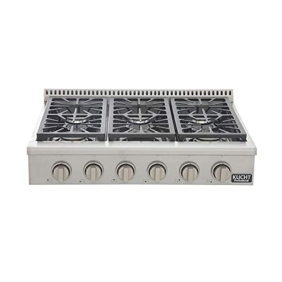 """Kucht KRT361GU-S KRT361GU Professional 36"""" Natural Gas Range-Top with Sealed Burners in Stainless Steel, Classic Silver, 36 inch 3 2 x 18, 000 BTU burners/ 1 x 15, 000 BTU dual flame burner with simmer/ 3 x 12, 000 BTU burners Black porcelain top Heavy Duty Cast-Iron Cooking Grates"""