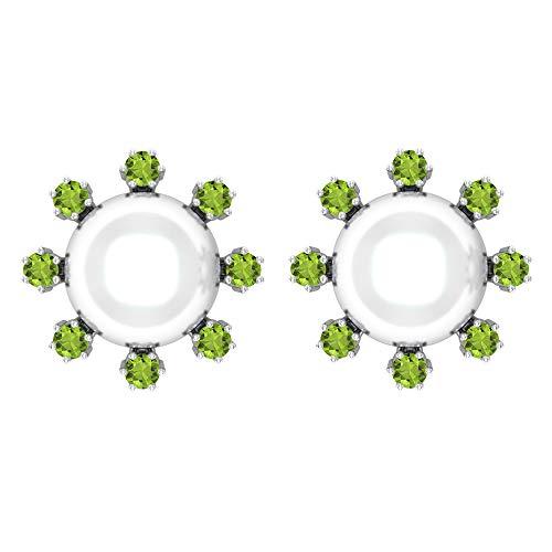 Rosec Jewels 14 quilates oro blanco redonda White Green Perla de agua dulce Peridoto/Olivino