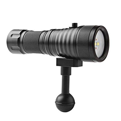 SecurityIng® amplia 120grados Ángulo de haz 150m linterna buceo fotografía vídeo 1500lm con 2x XM-L2(U4) luz blanca + 2x XP-E R5LED rojo (batería incluida)