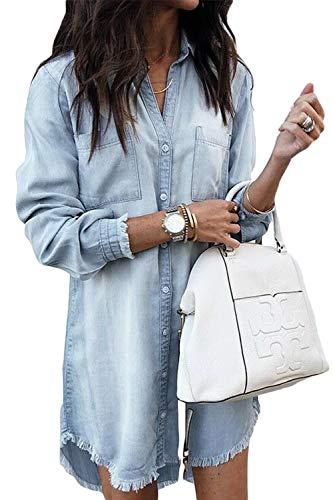 Zilcremo Damen V-Ausschnitt Blusenkleid Hemdkleid Jeanskleider Langarm Knopf Runter Shirtkleid Tunikakleider Hellblau S