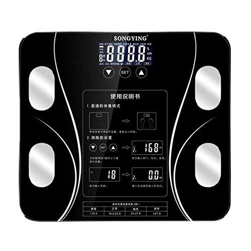 BINGFANG-W Discs Waage Badezimmer Waage, LCD-Smart-Body Balance Elektronische Waagen, Bmi-Körper-Skala, 180Kg, Schwarz Abrasive