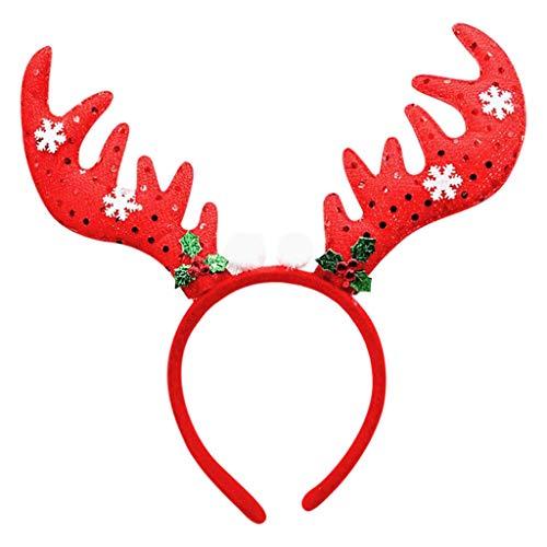 Dasongff Haarband voor Kerstmis, rendier, gewei, eland-oren, haarsieraad, hoofdtooi voor kinderen, volwassenen, party, hert, kostuum, accessoires, decoratie 1 pc A