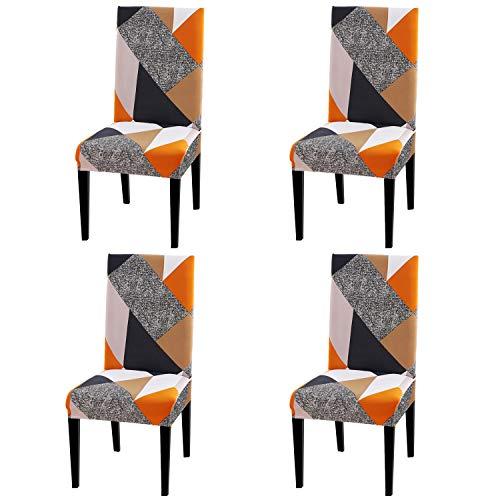 BETECK Fundas de Sillas de Comedor, Elasticas y Lavables para Proteger Silla Modern Bouquet de la Boda, Hotel, Decor Restaurante (Plaza, Pack de 4)