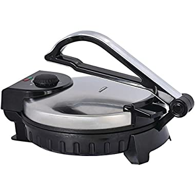 Brentwood 10  Electric Tortilla Press - Perfectly Round Homemade Tortillas & Flatbread - Cook Soft or Crispy with Adjustable Heat - No Wasted Tortillas with Non-Stick Plates - Tortilla Maker (TS-128)
