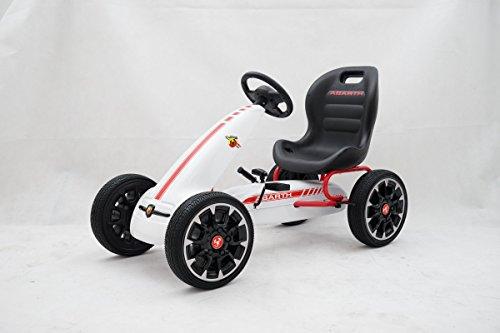 GDToys ® Kinder Pedal Go-Kart, ABARTH Lizenz, Rutscher Auto, Pedal Go Cart, 3–8 Jahre 3 FARBEN (WEISS)