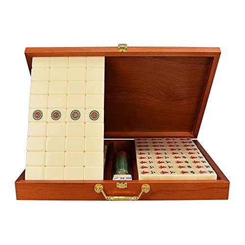 LYLY Mah Jongg Set – Juego de Mahjong chino con una funda de viaje para juego de estilo chino, 144+2 azulejos, 3 dados