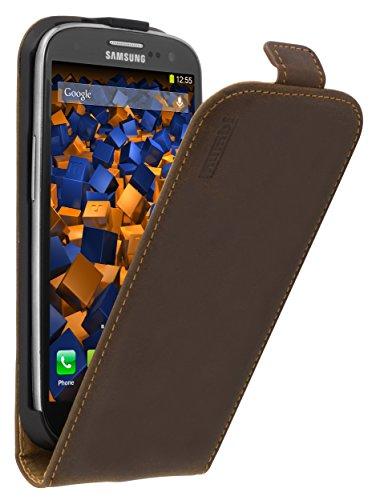 mumbi Funda de Piel con Tapa para Samsung Galaxy S3/S3 Neo, Color marrón