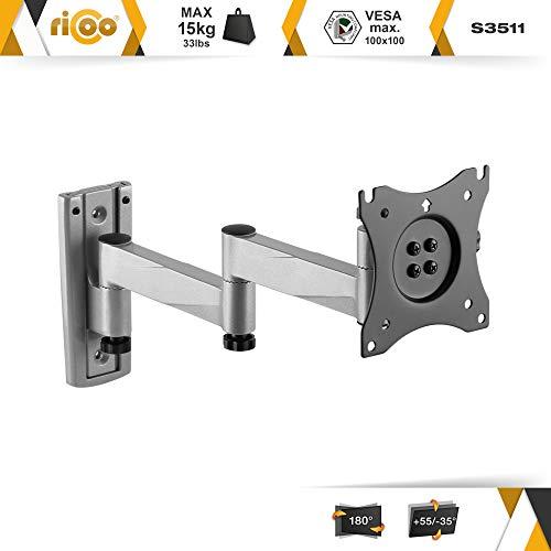RICOO Monitor Halterung Monitorhalterung Wand S3511 Schwenkarm TFT TV Wandhalterung Schwenkbar Neigbar 4K Monitor Wandhalter für PC-Monitor und Fernseher mit 33 – 69cm (13 – 27″) VESA 75×75 100×100 - 2