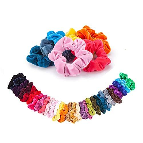 30Pcs chouchous en velours de qualité supérieure,Multicolore Chouchous Accessoires de Cheveux Élégant Bandes de Caoutchouc rétro bandeaux, headbands et serre-têtes (Multicolore)