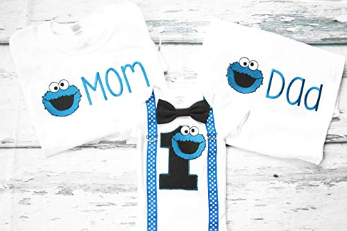 Family Birthday Shirts Mom and Dad Matching shirts first birthday Cookie Monster family shirts Cookie Monster Sesame Street first birthday mom dad