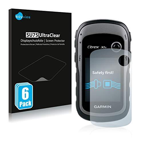 savvies Protector Pantalla Compatible con Garmin eTrex 30x (6 Unidades) Pelicula Ultra Transparente