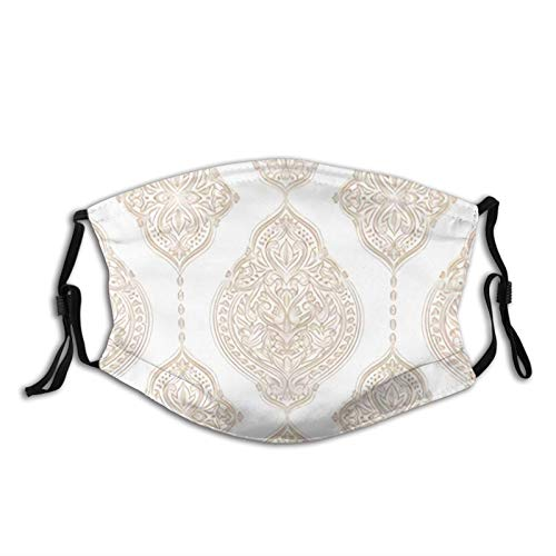 Gold White Ornamental Vintage Ornament Washable Cloth,Activated Carbon Filter with 5 Layers of Protection, Dust Mask for Face Covering